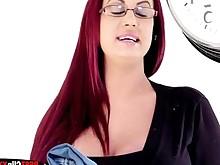 fuck redhead seduced stocking big-tits boobs