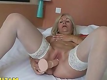 solo stocking amateur blonde fingering hot juicy orgasm