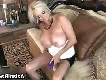babe blonde bus busty horny masturbation solo