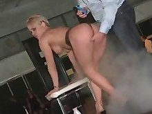 amateur babe big-tits blonde hot outdoor public striptease tease
