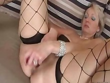 crazy dildo masturbation mature nasty stocking wife