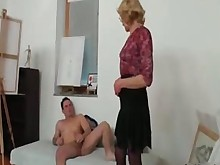 ass blonde blowjob big-cock glasses handjob masturbation mature stocking
