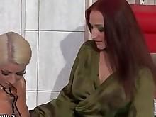 blonde fetish horny lesbian redhead