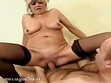 doggy-style fuck granny hardcore horny juicy pussy shaved stocking