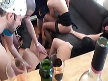 blowjob couch fuck group-sex orgy stocking