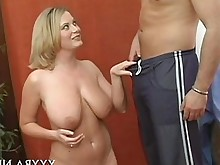 blonde blowjob masturbation stocking