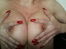 big-tits boobs horny mammy masturbation milf natural nipples playing