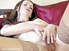 brunette foot-fetish hairy lingerie masturbation mature slender stocking striptease