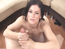 brunette bukkake big-cock cumshot facials handjob high-heels hot juicy