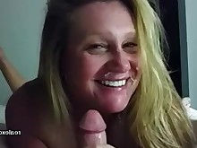 amateur blonde blowjob cumshot facials hot mammy milf pov