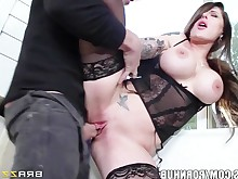 big-tits brunette big-cock handjob hot huge-cock mammy milf nylon